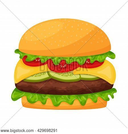 Hamburger With Cutlet, Lettuce, Cheese, Tomatoes, Cucumbers. Cheeseburger. Fast Street Food, Snack.