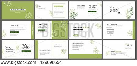 Presentation And Slide Layout Background. Design Green Leaves Template. Use For Business Keynote, Pr