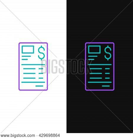 Line Paper Or Financial Check Icon Isolated On White And Black Background. Paper Print Check, Shop R