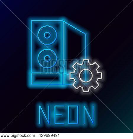 Glowing Neon Line Case Of Computer Setting Icon Isolated On Black Background. Computer Server. Works