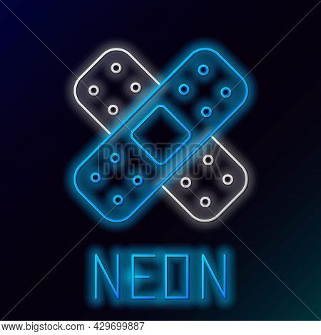 Glowing Neon Line Crossed Bandage Plaster Icon Isolated On Black Background. Medical Plaster, Adhesi