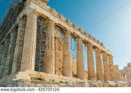 Parthenon Temple In Acropolis At Athens, Greece