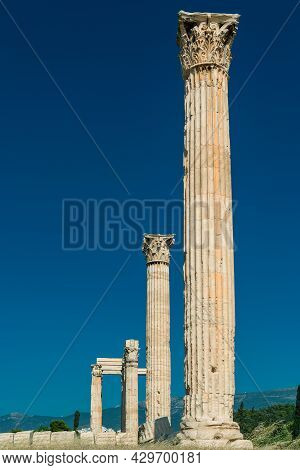 Greek Olympian Zeus Temple, Landscape With Ancient Ruins In Athens, Greece