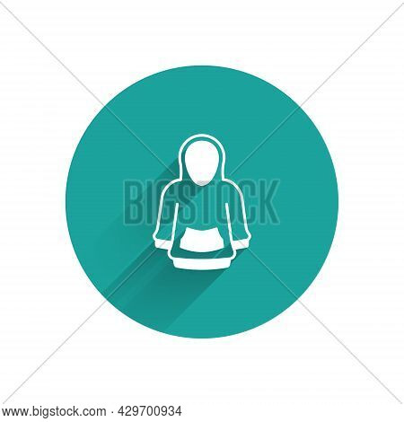 White Hoodie Icon Isolated With Long Shadow Background. Hooded Sweatshirt. Green Circle Button. Vect