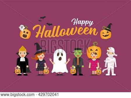 Happy Halloween Children In Scary Different Costumes. Collection Of Cartoon Children In Carnival Cos