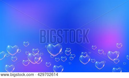 Bright Blue Background With Rainbow Colored Heart-shaped Soap Bubbles For Valentine Card. Vector