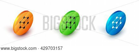 Isometric Molecule Icon Isolated On White Background. Structure Of Molecules In Chemistry, Science T