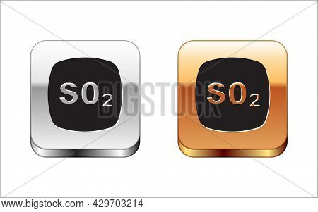Black Sulfur Dioxide So2 Gas Molecule Icon Isolated On White Background. Structural Chemical Formula