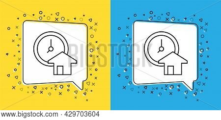 Set Line Time Is Money Icon Isolated On Yellow And Blue Background. Money Is Time. Effective Time Ma