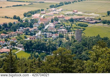Zebrak, Central Bohemia, Czech Republic, 24 July 2021: Medieval Royal Gothic Castle Zebrak, Grey Sto