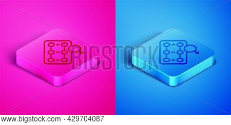 Isometric Line Packaging Of Birth Control Pills Icon Isolated On Pink And Blue Background. Contracep
