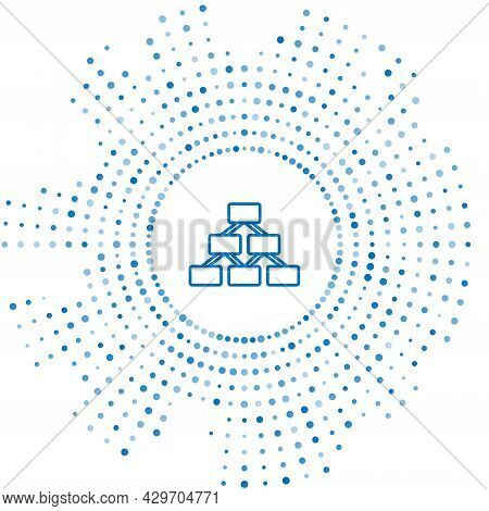 Blue Line Business Hierarchy Organogram Chart Infographics Icon Isolated On White Background. Corpor