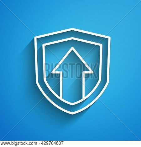 White Line Financial Growth Increase Icon Isolated On Blue Background. Increasing Revenue. Long Shad