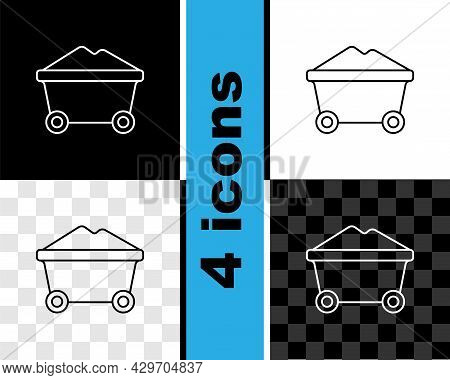 Set Line Coal Mine Trolley Icon Isolated On Black And White, Transparent Background. Factory Coal Mi