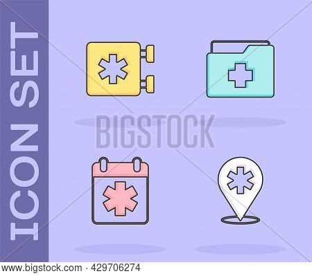 Set Location Hospital, Emergency - Star Of Life, Doctor Appointment And Patient Record Icon. Vector