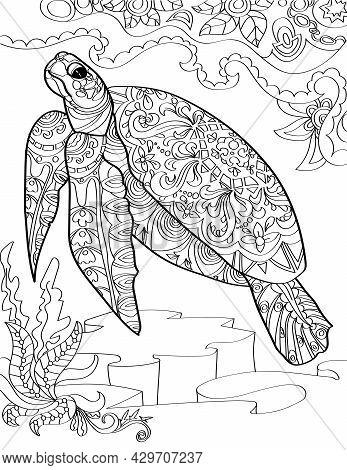 Large Sea Turtle Below The Ocean Swimming Upward Colorless Line Drawing. Huge Aquatic Tortoise Swims
