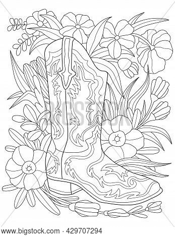 Single Boot Placed On A Flowery Background Colorless Line Drawing. One Shoe Beside Flowers And Leave