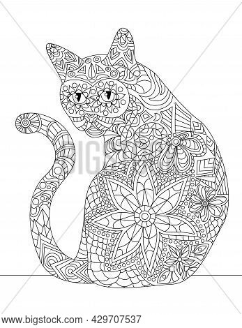 Domesticated Cat Sitting Looking Back With Long Tail Colorless Line Drawing. Small Kitten Sits Looks