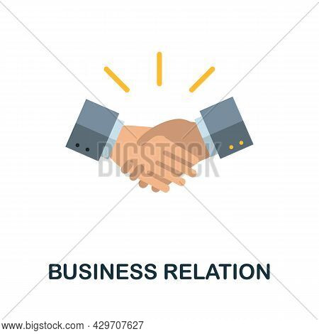 Business Relation Flat Icon. Colored Sign From Customer Management Collection. Creative Business Rel