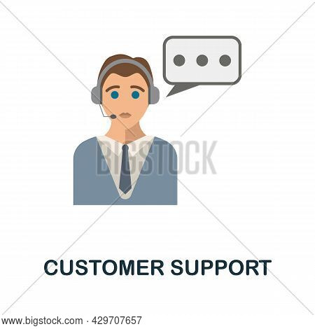 Customer Support Flat Icon. Colored Sign From Customer Management Collection. Creative Customer Supp