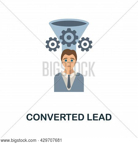 Converted Lead Flat Icon. Colored Sign From Customer Management Collection. Creative Converted Lead