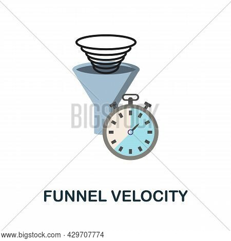 Funnel Velocity Flat Icon. Colored Sign From Customer Management Collection. Creative Funnel Velocit