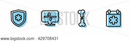 Set Line Human Broken Bone, Life Insurance, Heart Rate And Doctor Appointment Icon. Vector