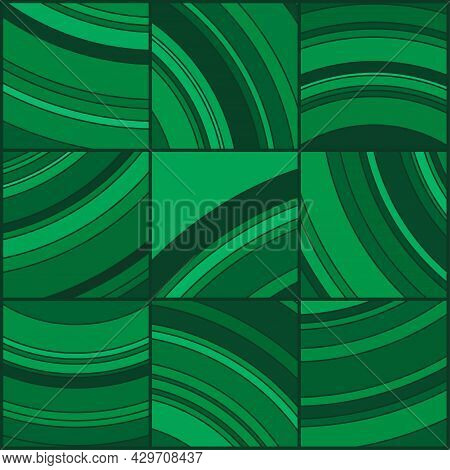 Abstract Dark Green Textured Tile. Liquid Marbling Ebru Texture.  Stone Ring Drawing Cross-section.