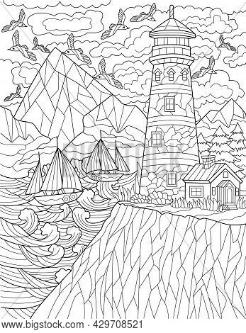 Cliff With Lighthouse With Multiple Flying Birds And Boats Sailing Colorless Line Drawing. Guiding L