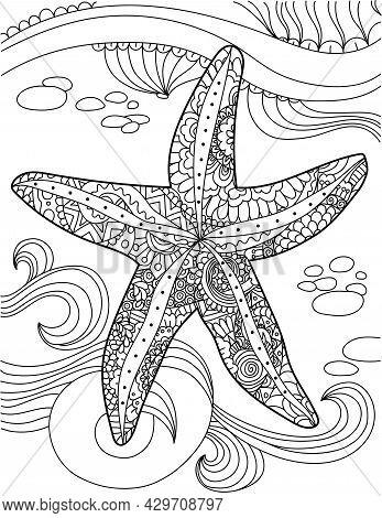 Large Starfish Top View Under Water With Ocean Waves Colorless Line Drawing. Huge Sea Star Below Wat