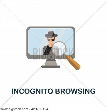 Incognito Browsing Flat Icon. Colored Sign From Dark Web Collection. Creative Incognito Browsing Ico