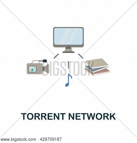 Torrent Network Flat Icon. Colored Sign From Dark Web Collection. Creative Torrent Network Icon Illu