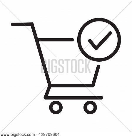Shopping Cart And Check Mark Icon Vector For Graphic Design, Logo, Web Site, Social Media, Mobile Ap
