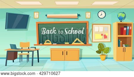 Back To School Poster With Empty Classroom With Teachers Desk. Cartoon School Education Background.