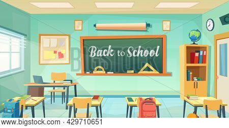Empty School Classroom Cartoon . Back To School Design Template. Education Concept. College Or Unive