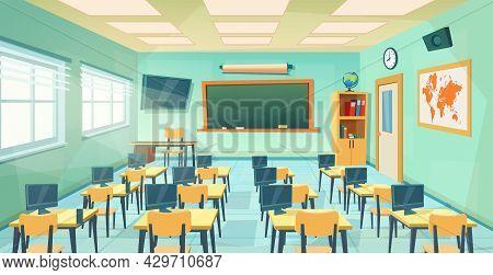 Empty School Class Room Interior Board. Cartoon Education Background. Education Concept. College Or