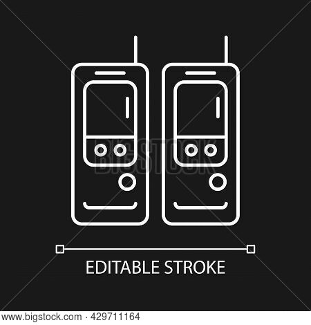 Walkie-talkie White Linear Icon For Dark Theme. Vintage Handheld Transceiver. Small Portable Device.