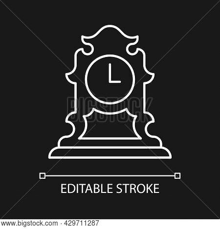 Vintage Tabletop Clock White Linear Icon For Dark Theme. Antique Table Clock. Retro Timepiece. Thin