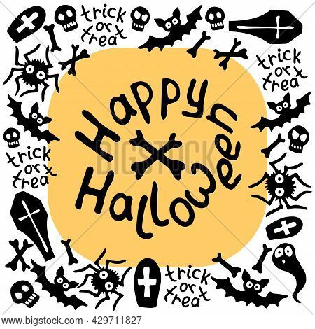 Happy Halloween-round Square Frame Of Holiday Design Characters-cat, Zombie, Bones, Skulls, Spider,