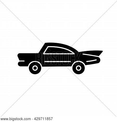 Classic Car Black Glyph Icon. Nostalgic Value. Vintage Automobile. Original Production Model. Luxury