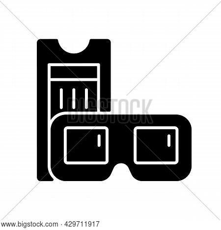 Vintage 3d Cinema Glasses Black Glyph Icon. Retro Movie Theater. Old Film Tickets. Red-and-green Gla