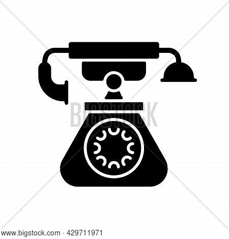 Vintage Telephone Black Glyph Icon. Old School Rotary Phone. Candlestick Telephone. Calling And Rece