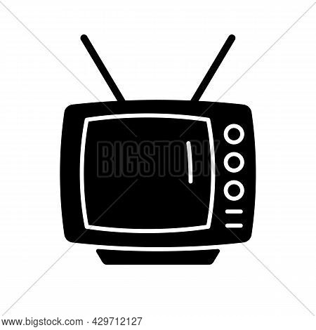 Old-style Television Black Glyph Icon. Tv Older Model. Transmitting Moving Images In Monochrome. Cat
