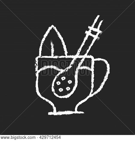 Mate Straw Chalk White Icon On Dark Background. Stick That Filters Dried Mate Tea Parts. Bombilla To