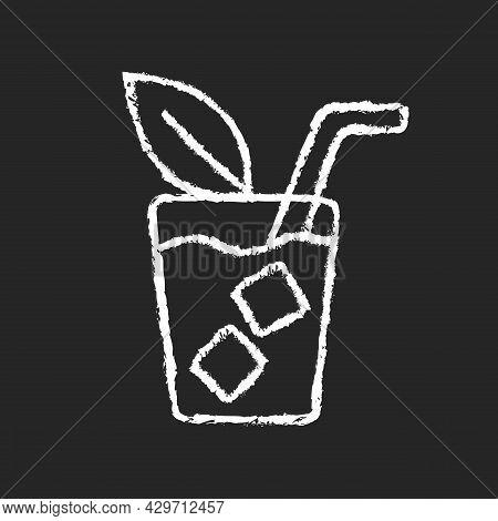 Iced Tea Chalk White Icon On Dark Background. Refreshing Summer Beverage Served In Glass. Cold Sweet