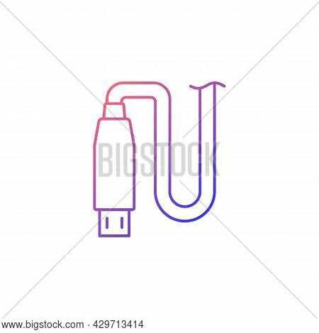 Micro Usb Output Gradient Linear Vector Manual Label Icon. Using Micro Input. Thin Line Color Symbol