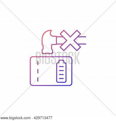 Dont Crush Powerbank Gradient Linear Vector Manual Label Icon. Inadequate Disposal. Thin Line Color
