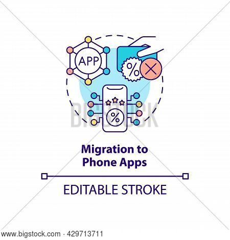 Migration To Phone Apps Concept Icon. Rewards In App Abstract Idea Thin Line Illustration. Online Cu
