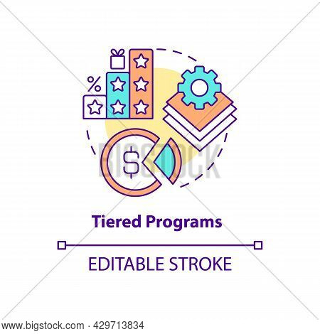 Tiered Programs Concept Icon. Different Levels Of Loyalty Program Abstract Idea Thin Line Illustrati