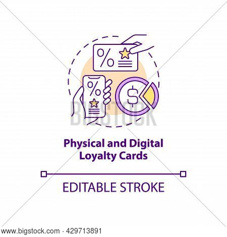 Physical And Digital Loyalty Cards Concept Icon. Digital Bonus Card For Customers Abstract Idea Thin